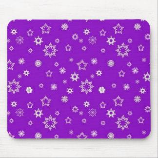 Snowflakes on Purple Mouse Pad