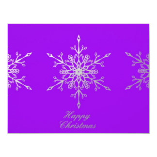 Snowflakes on purple personalized invites