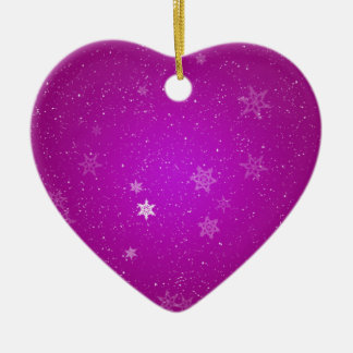 Snowflakes on Purple Sparkles Christmas Ornaments