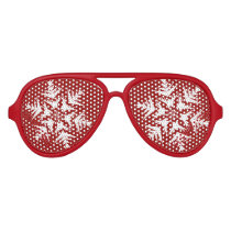 Snowflakes on Red Aviator Sunglasses