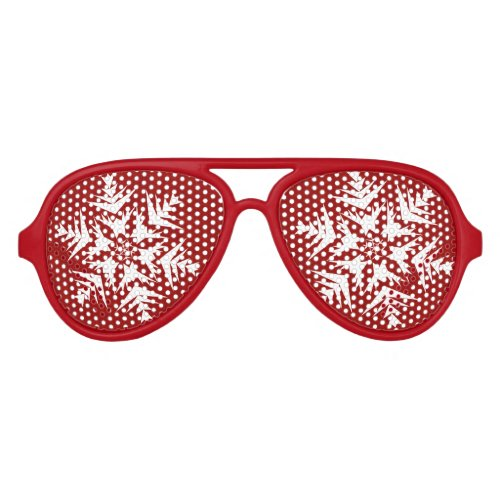 Snowflakes on Red Aviator Sunglasses