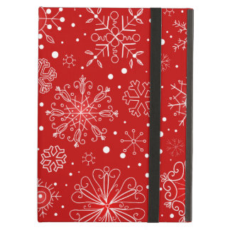 Snowflakes on Red Background iPad Air Case