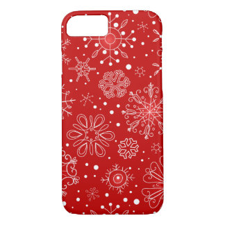 Snowflakes on Red Background iPhone 7 Case