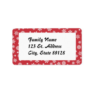 Snowflakes on Red Background Personalized Address Labels