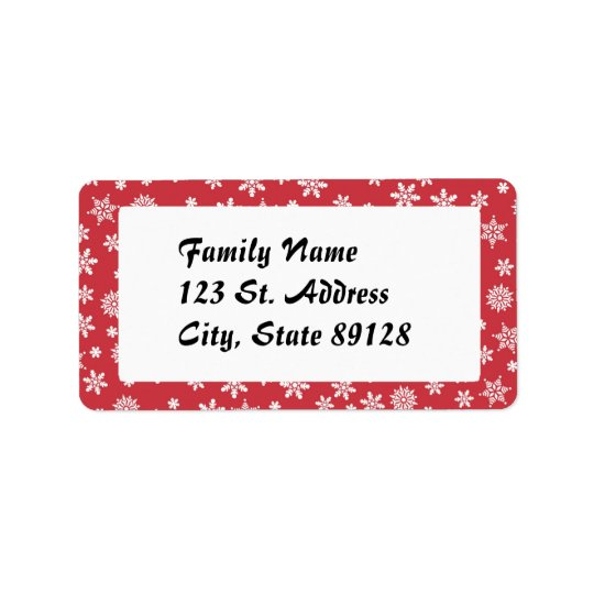 Snowflakes on Red Background Label
