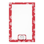 Snowflakes on Red Background Stationery Paper