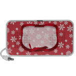 Snowflakes on Red Background Travel Speaker