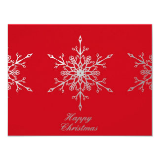 Snowflakes on red Christmas Invitation