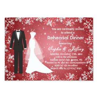 Snowflakes on red Christmas Rehearsal Dinner Invitation