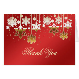 Snowflakes on red Christmas Wedding Thank You Note
