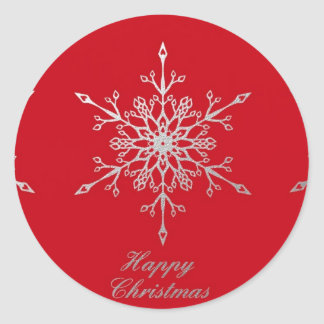 Snowflakes on red classic round sticker