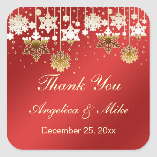 Snowflakes on red Cristmas Thank You Sticker