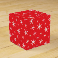 Snowflakes on Red Favor Box
