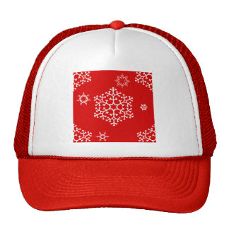 snowflakes_on_red trucker hat