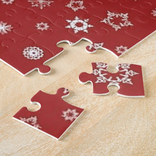 Snowflakes on Red Jigsaw Puzzle