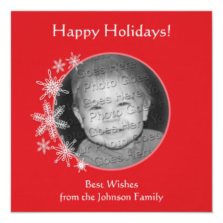Snowflakes on Red Photo Card