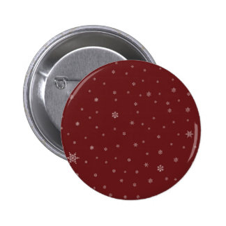 Snowflakes on Red Pinback Button