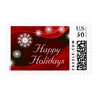 Snowflakes on red postage