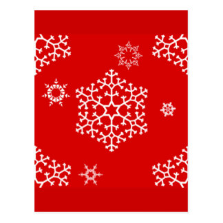 snowflakes_on_red postcard