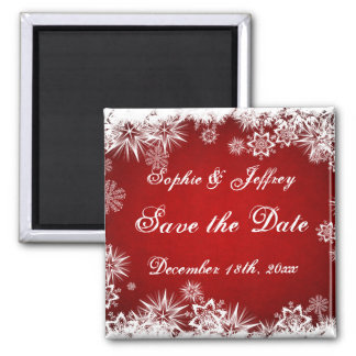 Snowflakes on red Save the Date Magnet