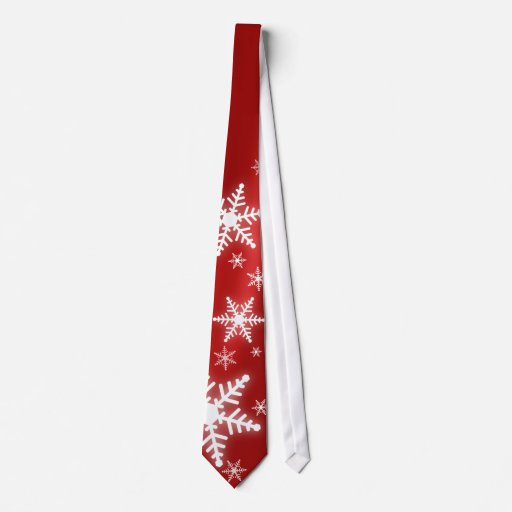 Snowflakes On Red tie