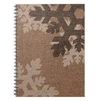 Snowflakes on Rustic Faux Burlap Holiday Notebook