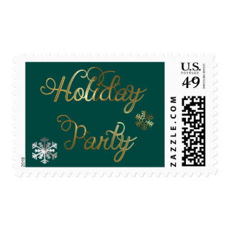 Snowflakes on Teal Holiday Party Postage