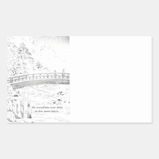 Snowflakes on the Bridge Rectangle Sticker