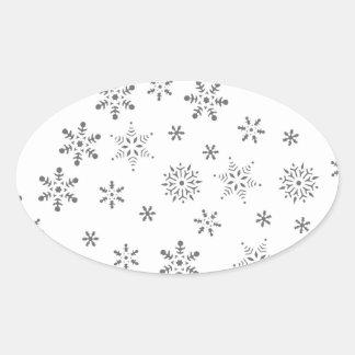 Snowflakes on White  Background Oval Sticker