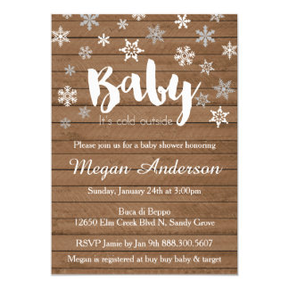 Snowflakes on Wood Baby Shower Invitations