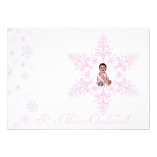 Snowflakes Onederland 1st Birthday Pink Invitation