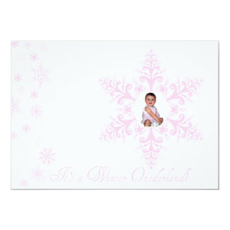 Snowflakes Onederland 1st Birthday Pink 5x7 Paper Invitation Card