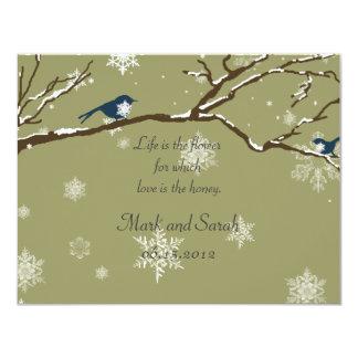 Snowflakes Or Snowbirds Eucalyptus RSVP Card