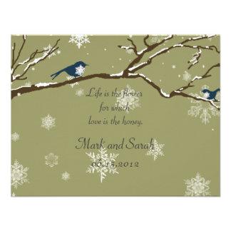 Snowflakes Or Snowbirds Eucalyptus RSVP Personalized Announcement