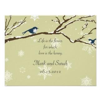 Snowflakes Or Snowbirds Khaki RSVP Custom Announcements