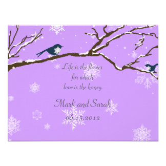 Snowflakes Or Snowbirds Lavender RSVP Custom Invite
