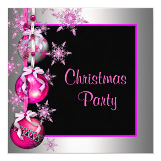 Snowflakes Ornaments Hot Pink Christmas Party Card