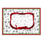 Snowflakes Outlined with Red Ribbon Tag Large Business Cards (Pack Of 100)