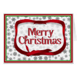 Snowflakes Outlined with Red Ribbon Tag Greeting Card