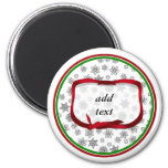 Snowflakes Outlined with Red Ribbon Tag Refrigerator Magnet
