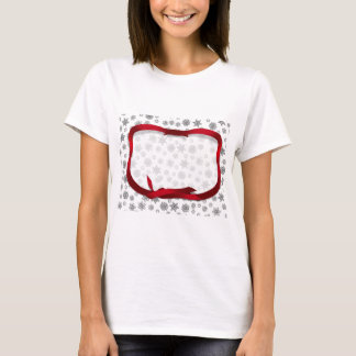 Snowflakes Outlined with Red Ribbon Tag T-Shirt