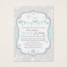 Snowflakes Owl Banner Bring A Book Card at Zazzle