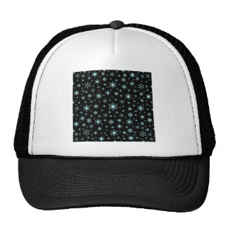 Snowflakes – Pale Blue on Black Trucker Hats