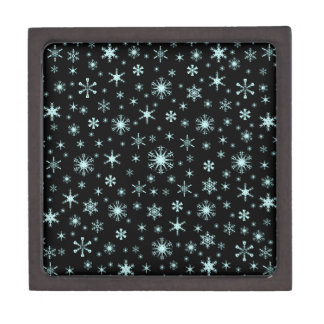 Snowflakes – Pale Blue on Black Premium Keepsake Box