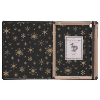 Snowflakes - Pale Brown on Black Cases For iPad