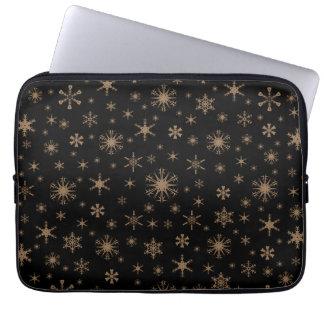 Snowflakes - Pale Brown on Black Laptop Sleeve