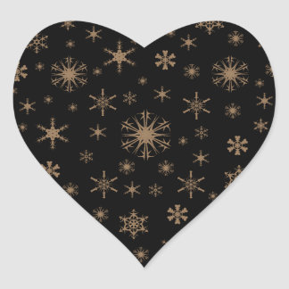 Snowflakes - Pale Brown on Black Heart Sticker