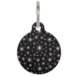 Snowflakes - Pale Pink on Black Pet ID Tags