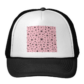 Snowflakes – Pale Pink on Black Trucker Hats