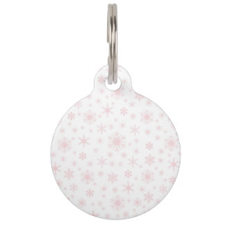 Snowflakes - Pale Pink on White Pet Nametags